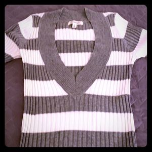 Energie Gray & White Striped V-Neck Sweater - NWT